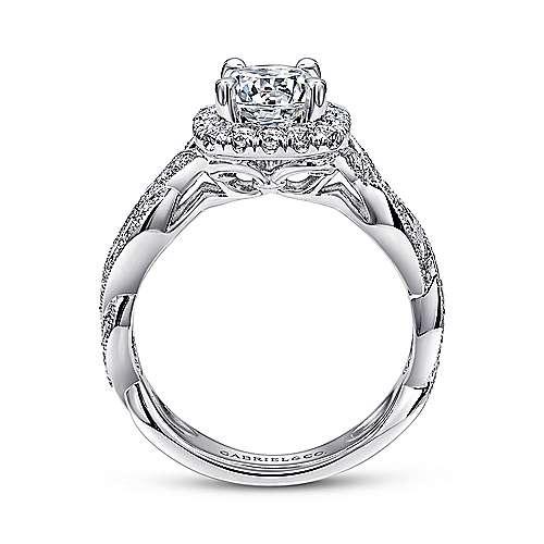 Verona 18k White Gold Round Halo Engagement Ring angle 2