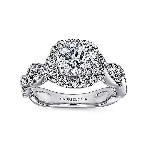 Verona 18k White Gold Round Halo Engagement Ring angle 5