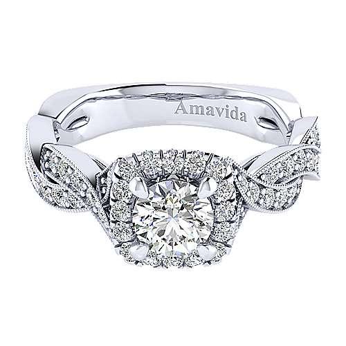 Gabriel - Verona 18k White Gold Round Halo Engagement Ring
