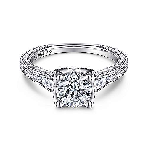 Veronica 14k White Gold Round Straight Engagement Ring angle 1