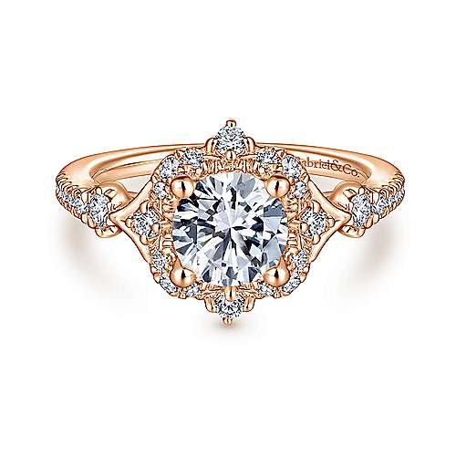 Veronique 14k Rose Gold Round Halo Engagement Ring