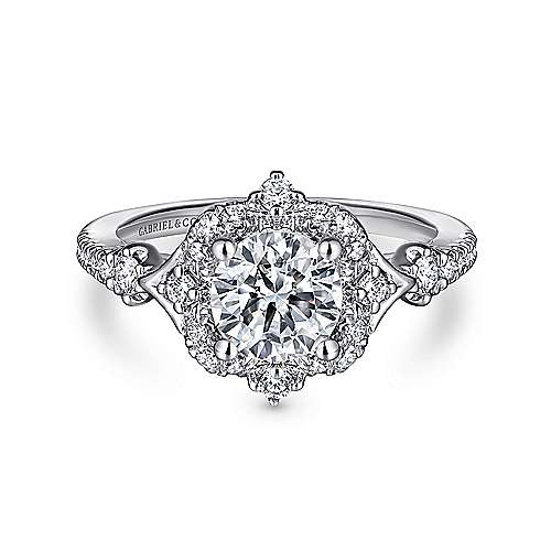 Gabriel - Veronique 14k White Gold Round Halo Engagement Ring