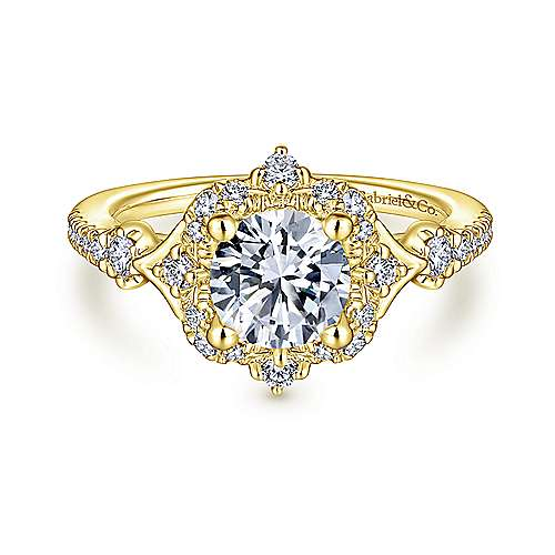 Veronique 14k Yellow Gold Round Halo Engagement Ring