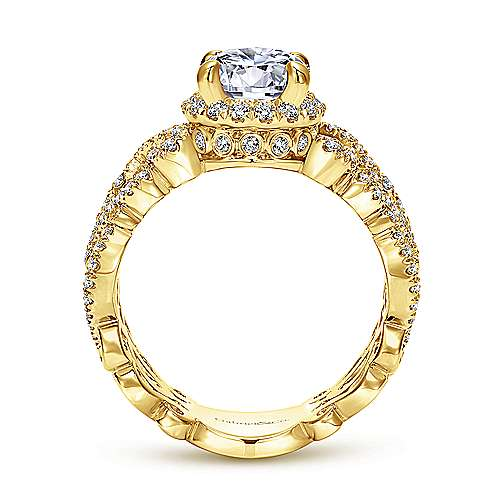 Vibrant 18k Yellow Gold Round Halo Engagement Ring angle 2