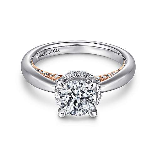 Gabriel - Victoria 14k White And Rose Gold Round Straight Engagement Ring