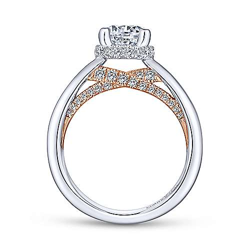Victoria 14k White And Rose Gold Round Straight Engagement Ring angle 2