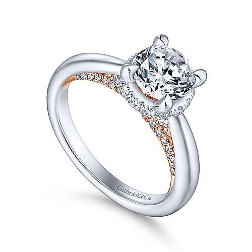 Victoria 14k White And Rose Gold Round Straight Engagement Ring angle 3