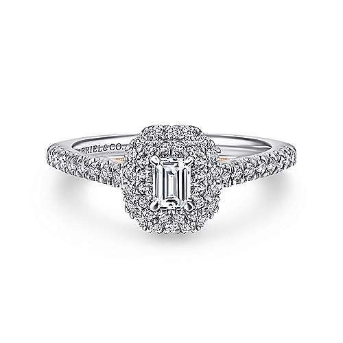 Victory 14k White And Rose Gold Emerald Cut Double Halo Engagement