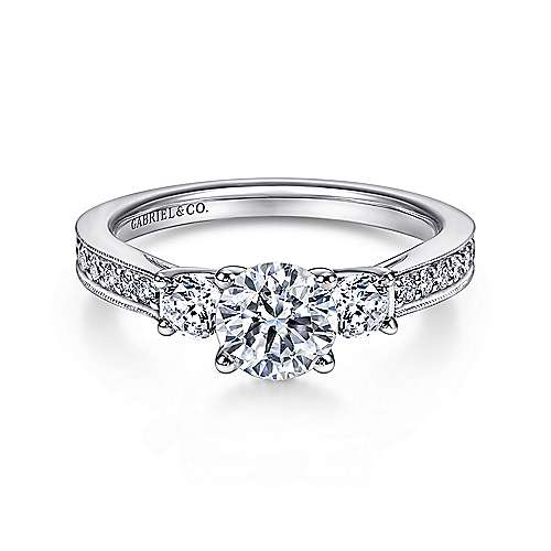 Gabriel - Vida 14k White Gold Round 3 Stones Engagement Ring