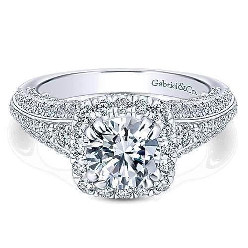 Gabriel - Vienna 14k White Gold Round Halo Engagement Ring
