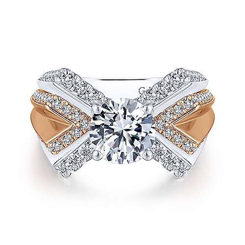 Villa 14k White And Rose Gold Round Split Shank Engagement Ring angle 1
