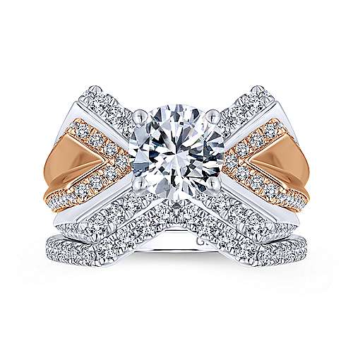 Villa 14k White And Rose Gold Round Split Shank Engagement Ring angle 4