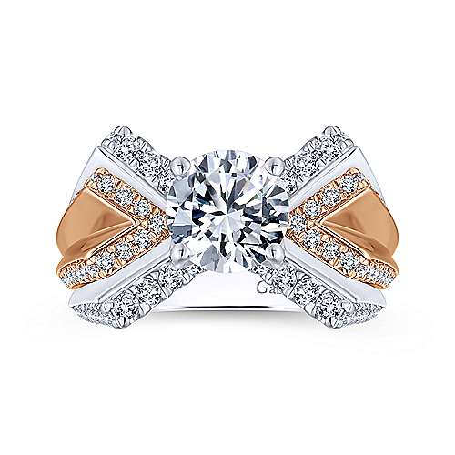 Villa 14k White And Rose Gold Round Split Shank Engagement Ring angle 5