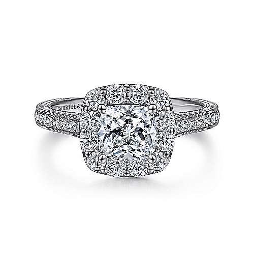Vintage 14k White Gold Cushion Halo Diamond Engagement Ring Er7500w44jj