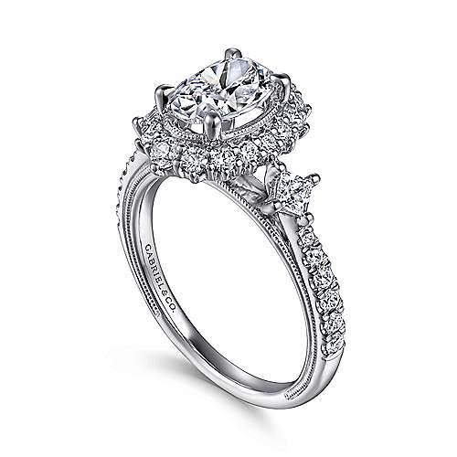 Vintage 14K White Gold Fancy Halo Oval Diamond Engagement Ring