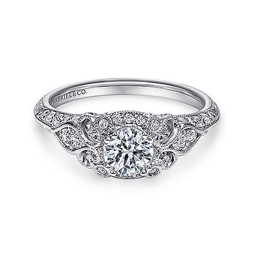 Gabriel - Vintage 14K White Gold Round Halo Diamond Engagement Ring