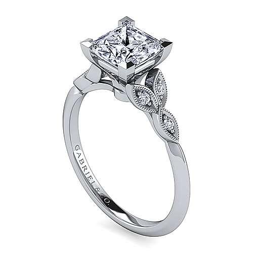 Vintage 14K White Gold Split Shank Princess Cut Diamond Engagement Ring