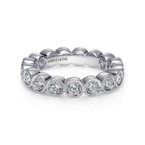 Gabriel - Vintage 14k White Gold Bezel Set Eternity Band
