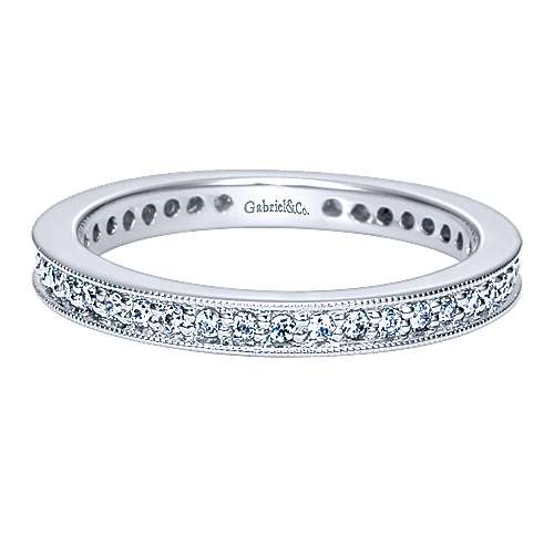 Gabriel - Vintage 14k White Gold Channel Prong  Eternity Band