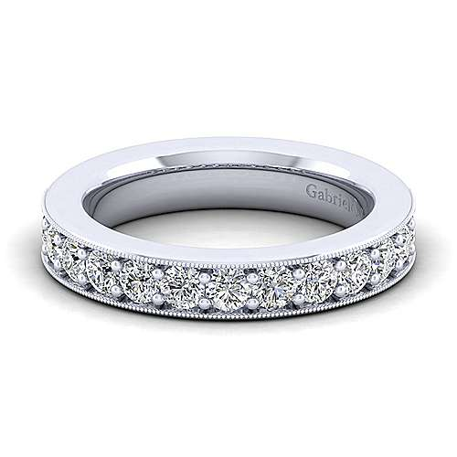 Vintage 14k White Gold Channel Prong Set Anniversary Band