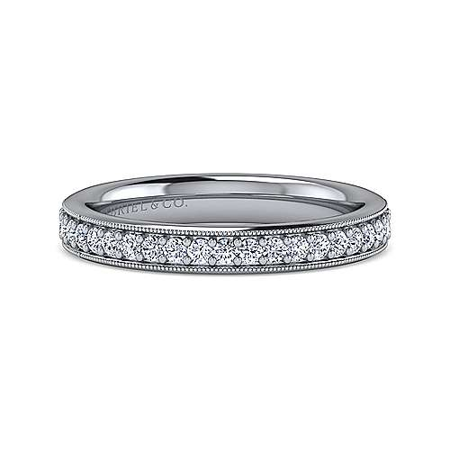 Gabriel - Vintage 14k White Gold Channel Prong Set Anniversary Band