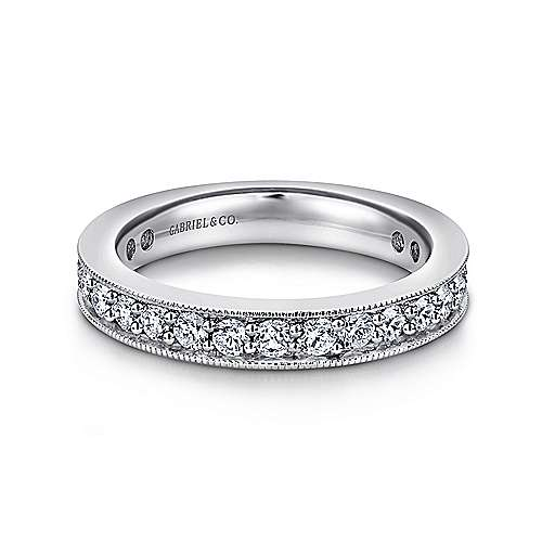 Gabriel - Vintage 14k White Gold Channel Prong Set Eternity Band