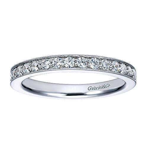 Vintage 14k White Gold Channel Prong Set Round 16 Stone Diamond Anniversary Band angle 5