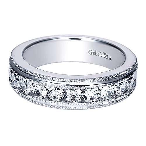 Gabriel - Vintage 14k White Gold Channel Set 10 Stone Diamond Band