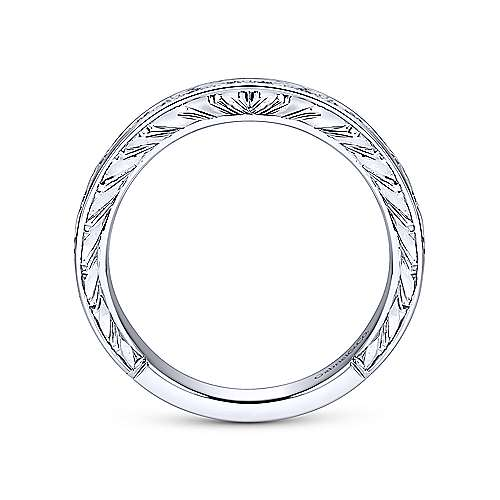 Vintage 14k White Gold Channel Set Hand Carved Princess Cut 9 Stone Diamond Anniversary Band angle 2