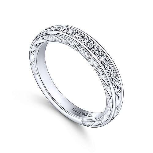 Vintage 14k White Gold Channel Set Hand Carved Princess Cut 9 Stone Diamond Anniversary Band angle 3