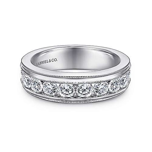 Gabriel - Vintage 14k White Gold Channel Set Round 11 Stone Diamond Anniversary Band