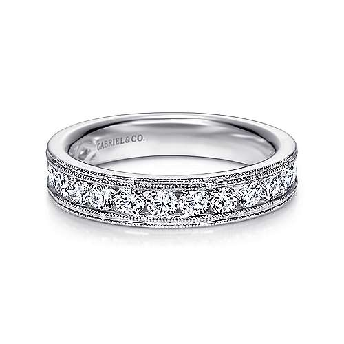 Vintage 14k White Gold Channel Set Round 16 Stone Diamond Anniversary Band angle 1