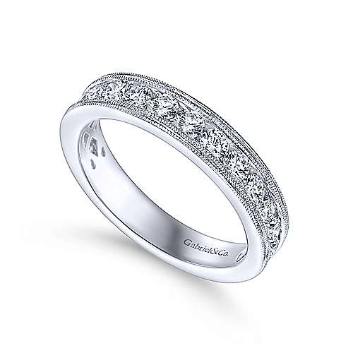 Vintage 14k White Gold Channel Set Round 16 Stone Diamond Anniversary Band angle 3
