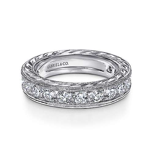 Gabriel - Vintage 14k White Gold Hand Engraved Channel Set Eternity Band