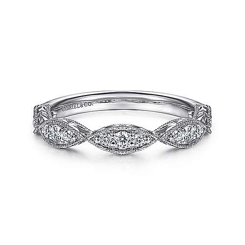 Gabriel - Vintage 14k White Gold Hand Engraved Diamond Band