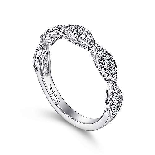 Vintage 14k White Gold Hand Engraved Diamond Band