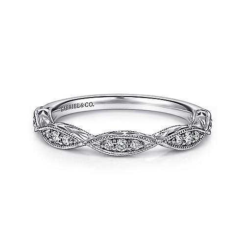 Gabriel - Vintage 14k White Gold Hand Engraved Diamond Ring
