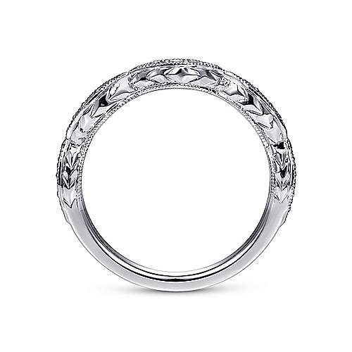 Vintage 14k White Gold Hand Engraved Diamond Ring