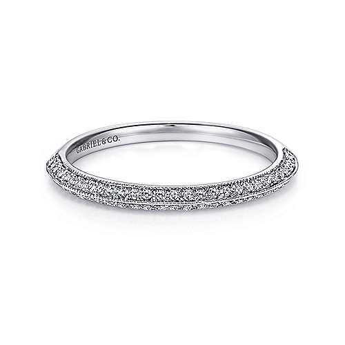 Gabriel - Vintage 14k White Gold Knife Edge Micro Pavé Band
