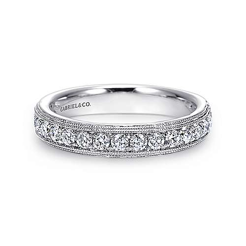 Gabriel - Vintage 14k White Gold Micro Pavé Channel Set Band