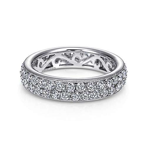 Gabriel - Vintage 14k White Gold Pavé Eternity Band