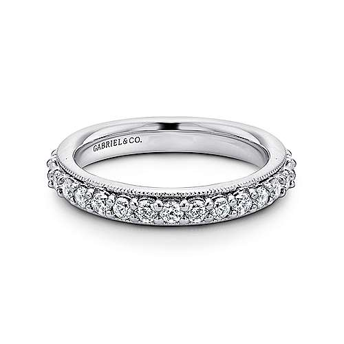 Gabriel - Vintage 14k White Gold Prong Set Eternity Band