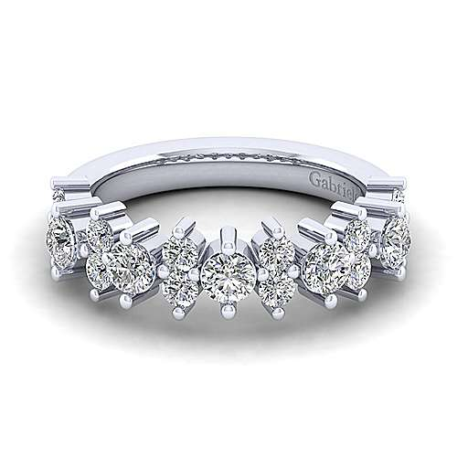 Gabriel - Vintage 14k White Gold Shared Prong Set Anniversary Band