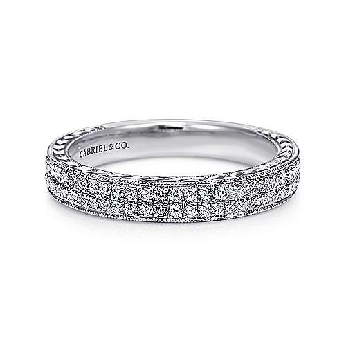 Gabriel - Vintage 14k White Gold Two Row Hand Engraved Micro Pavé Channel Set Band