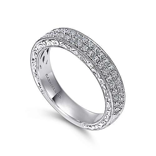 Vintage 14k White Gold Two Row Hand Engraved Micro Pavé Channel Set Band