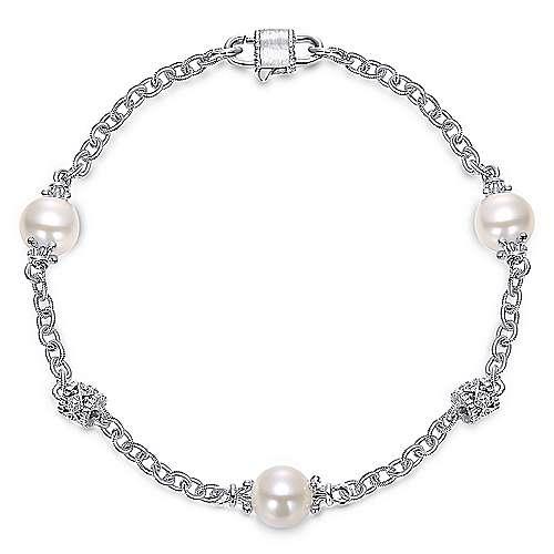 Gabriel - Vintage 925 Silver Chain Cultured Pearl Bracelet
