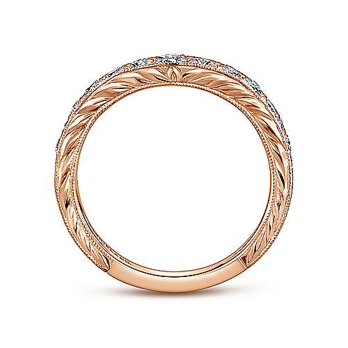 Vintage Inspired 14K Rose Gold Curved Channel Set Diamond Wedding Band with Engraving