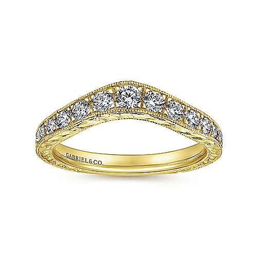 Vintage Inspired 14K Yellow Gold Curved Channel Set Diamond Wedding Band with Engraving