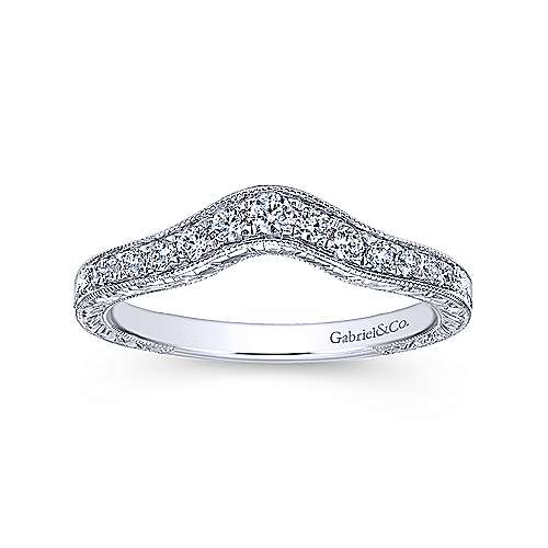 Vintage Inspired Curved 14K White Gold Diamond Wedding Band with Engraving