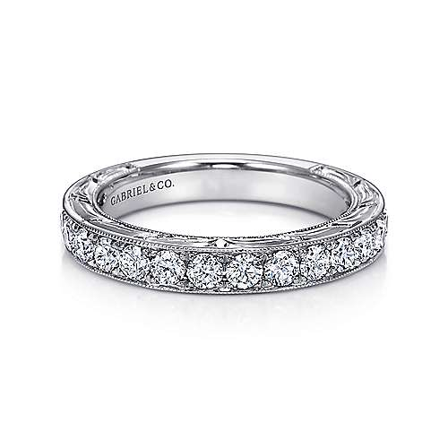 Gabriel - Vintage White Gold Hand Engraved Micro Pavé Channel Set Band